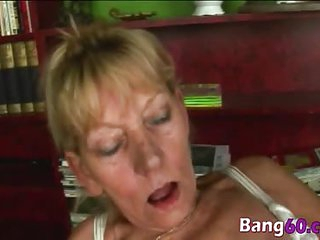 Busty granny riding reverse cowgirl younger rod