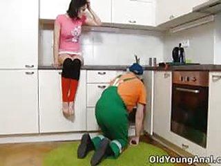 Brunette teen fucks the old man plumber for a laugh