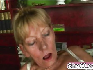 Blonde granny riding younger rod reverse cowgirl