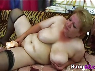 Fat granny gets her pussy drilled