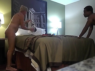 Blond mother i'd like to fuck enjoys a large dark knob during a tinder date