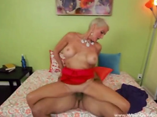 Short hair goldenhaired cougar bonks bbc