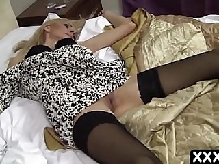 Sexy blonde 45 year old step mom is sleeping in bed, and drunk son wants to hard fuck her