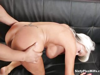 Anal with busty mature Sally D'Angelo getting a young long dick up her mature ass crack