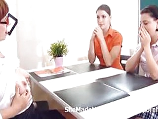 Two students having lesbian fun with their mature teacher