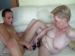 Oldnanny mature lesbian toysex act