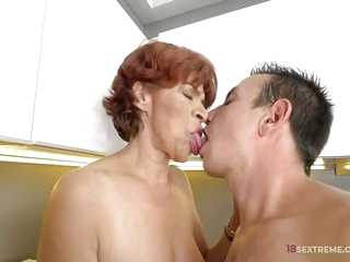 Hairy Mature Donatella Loves to Fuck her young lover with his robust hard cock slamming her tight box