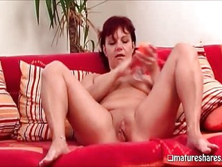 Redhead Linda Fingering Her Granny Pussy