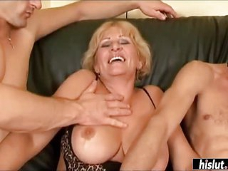 Mature Maria handles two dicks with ease