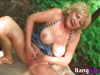 Granny Stally Outdoor Blowjob Fucking Big Tits