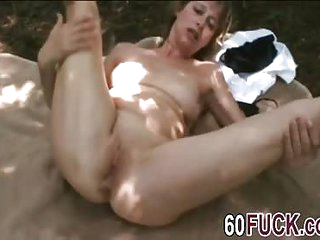 Brunette granny fingering riding dick outdoors