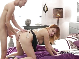 Skinny dude bangs redhead Milf in bedroom
